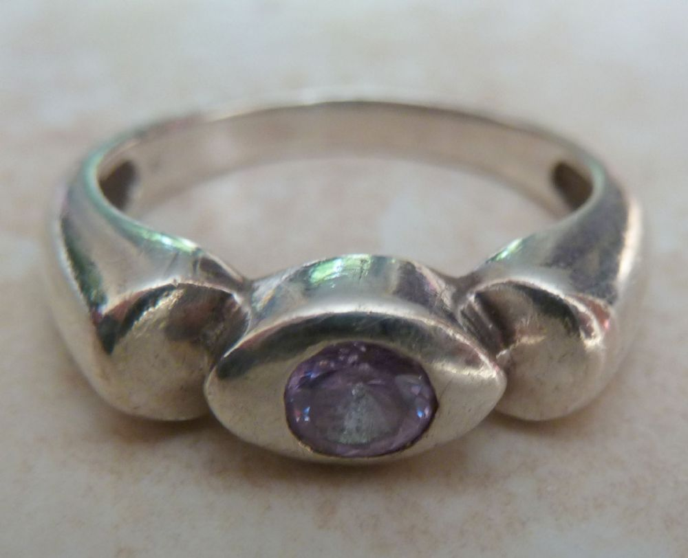 Sterling Silver And Amethyst Rose De France Ring